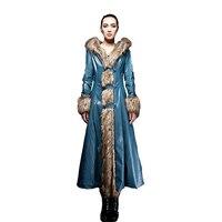 YMOJNV 2018 Новинка зимы для женщин Длинная кожаная куртка пальто Женская мода большой меховой воротник толстый плюс хлопок тонкий размеры ветр