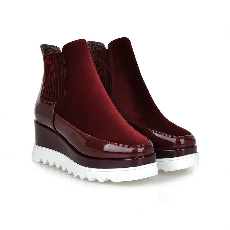 Classic Lady Shoe PU Patent Leather Wedge High Heel Platform Round Toe Woman Ankle Boot Red Female Motorcycle Shoe Size 34-43 nayiduyun women genuine leather wedge high heel pumps platform creepers round toe slip on casual shoes boots wedge sneakers