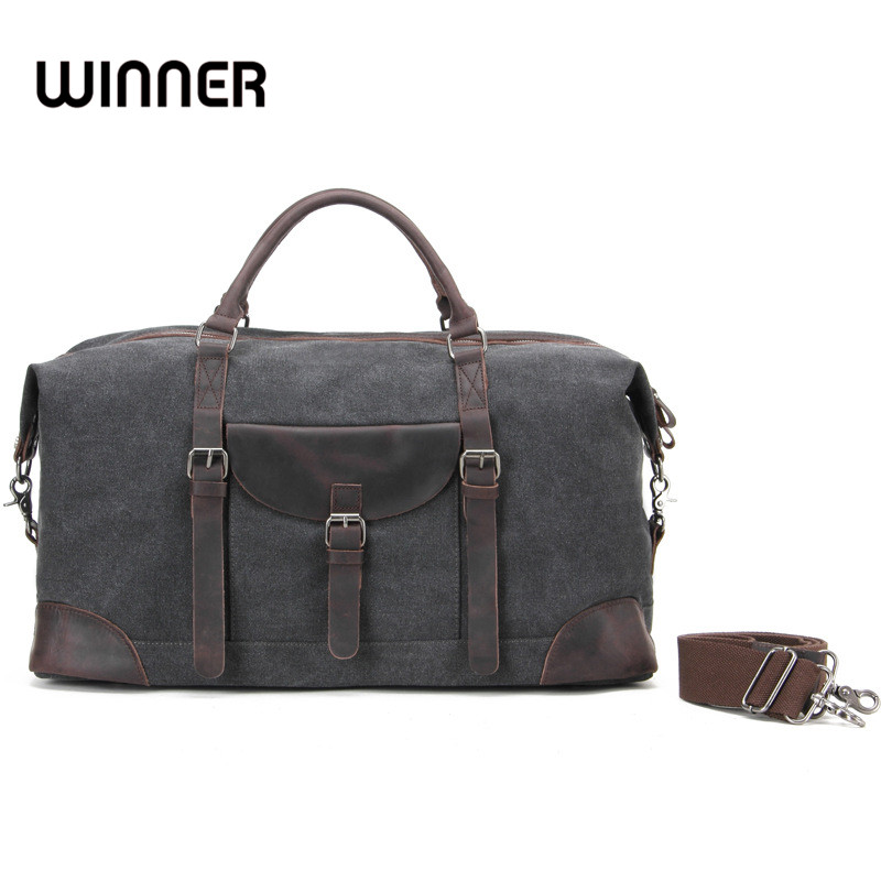 Winner Vintage Portable Canvas and Leather Crossbody Travel Bags Duffle Road Weekend Carry on Traveling Luggage Tote Bag