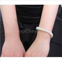 Women Brand Beaded Chains Bracelets Elegant Elastic Faux Pearl Bracelets for Women Jewelry Strand Bracelets 0.31 inch / 8mm(China)