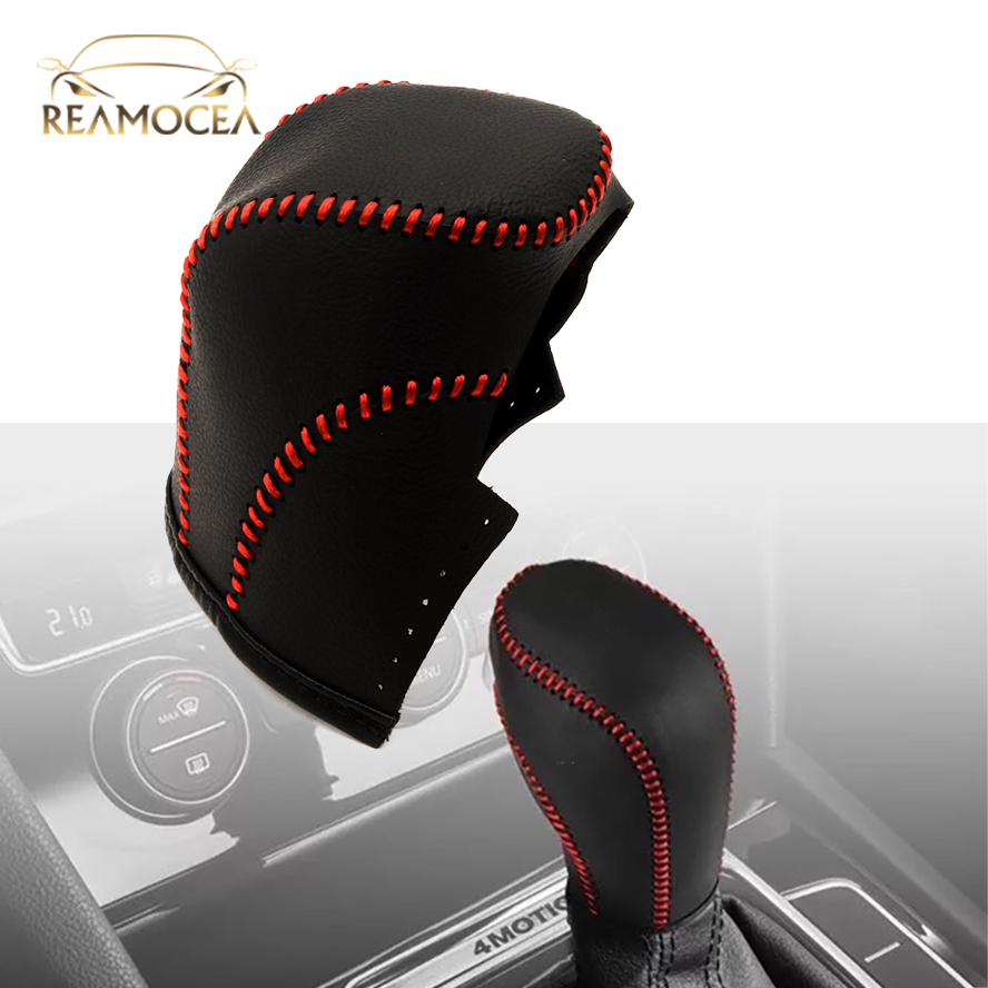 Reamocea 1Pc Leather Black Gear Shift Knob Cover Case Collar For VW <font><b>Volkswagen</b></font> 2014 <font><b>2015</b></font> 2016 2017 2018 Auto Cars image
