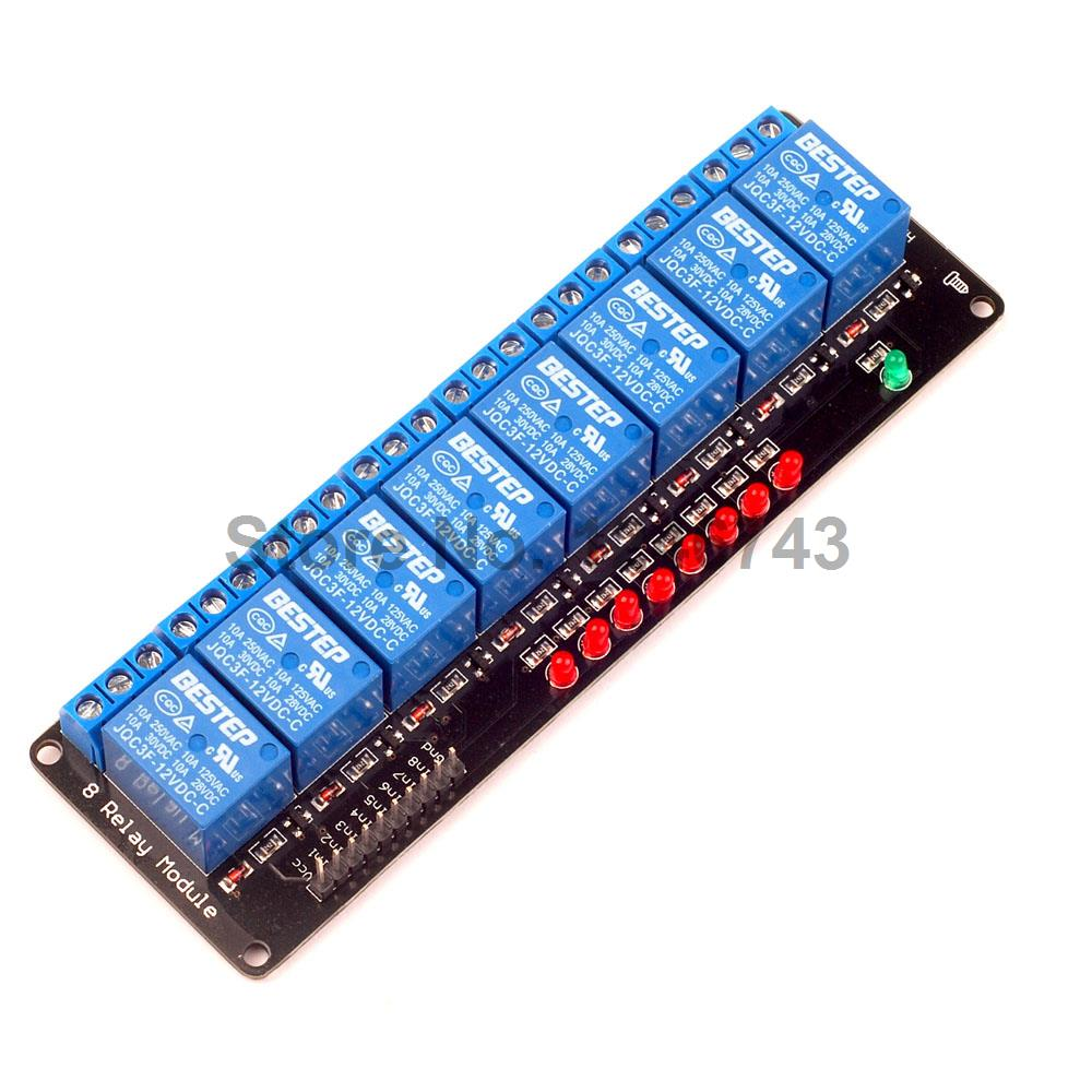1PCS Black 8 Channel Relay Module 12V Lamp For Arduino ARM PIC AVR DSP