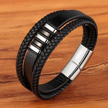 Wysokiej jakości amulet ze stali nierdzewnej wieżowych warstwowa bransoletka skórzana oryginalna pleciona czarna bransoletka dla mężczyzn biżuteria ręczna tanie i dobre opinie Charm bransoletki Mężczyźni Stainless Steel Moda Klasyczny Leather Leather Bracelet Geometric BXXG1331 1332 1333 1334