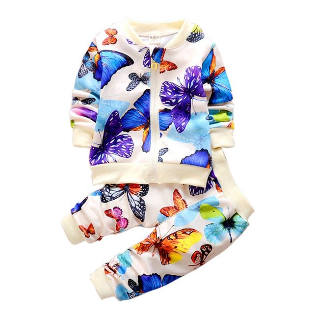 2PCS Spring Autumn Baby Toddler Kids Girls Clothes Butterfly Cardigan Tops+Pants Outfits Sets