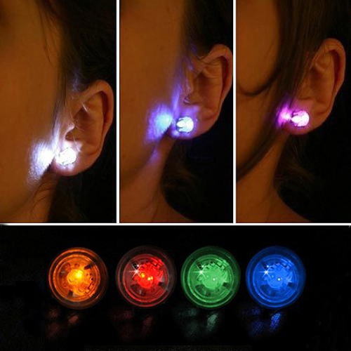 1 Pair Light Up LED Bling Earrings Ear Studs Dance Party Accessories Blinking Wholesale