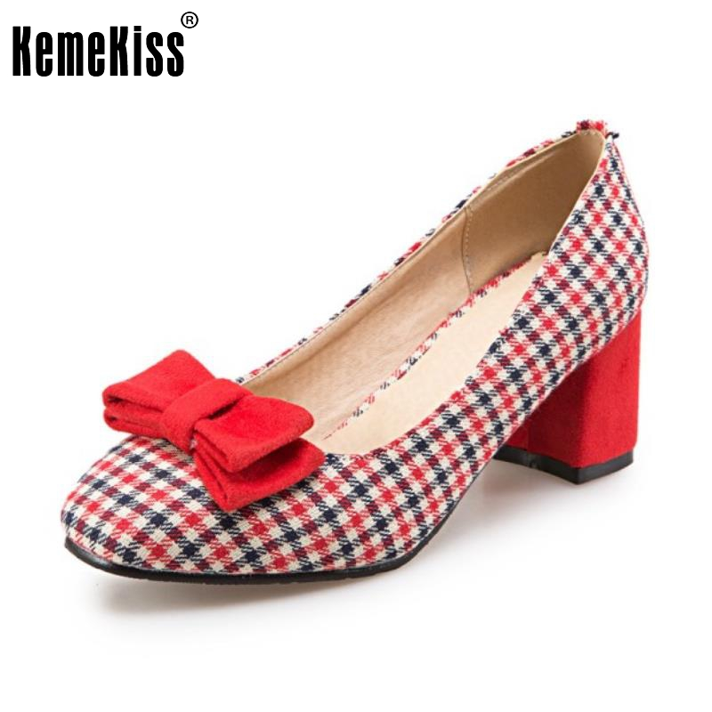 цена на KemeKiss Size 32-43 Ladies High Heel Shoes Women Plaid Bowtie Thick Heels Pumps Office Party Vintage Wedding Female Footwears
