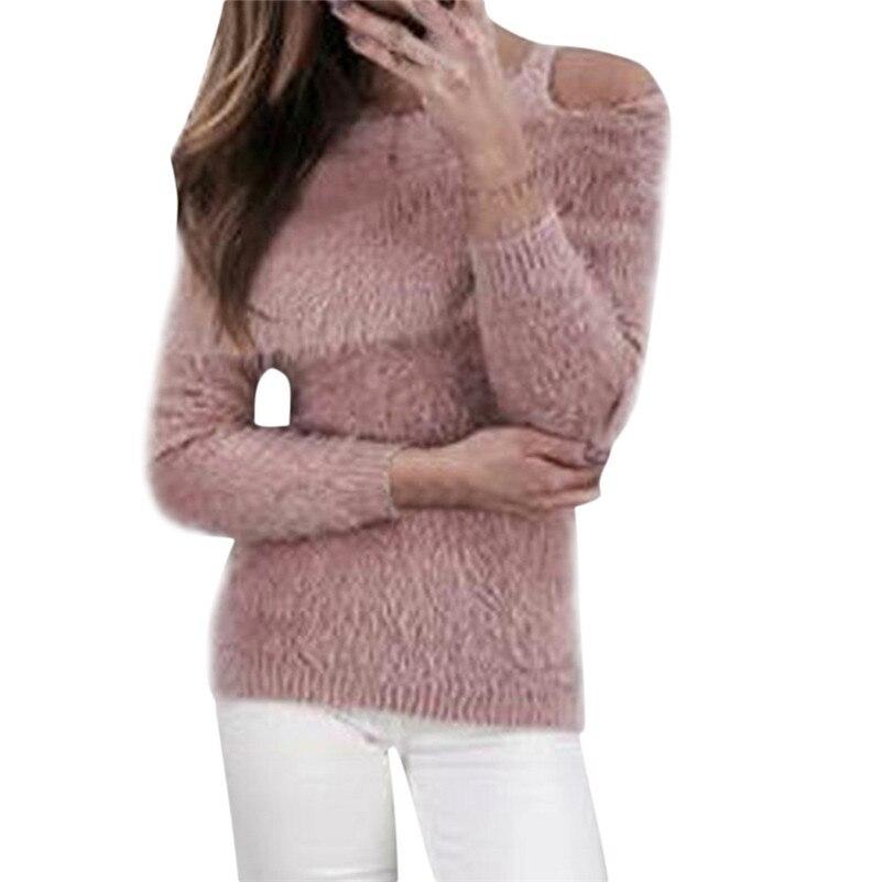Women Solid Fluffy Sweater Jumper Cold Shoulder Long Sleeve Pullover Tops   Feminina Casaco Feminino Sueter Mujer Sauteur QB2