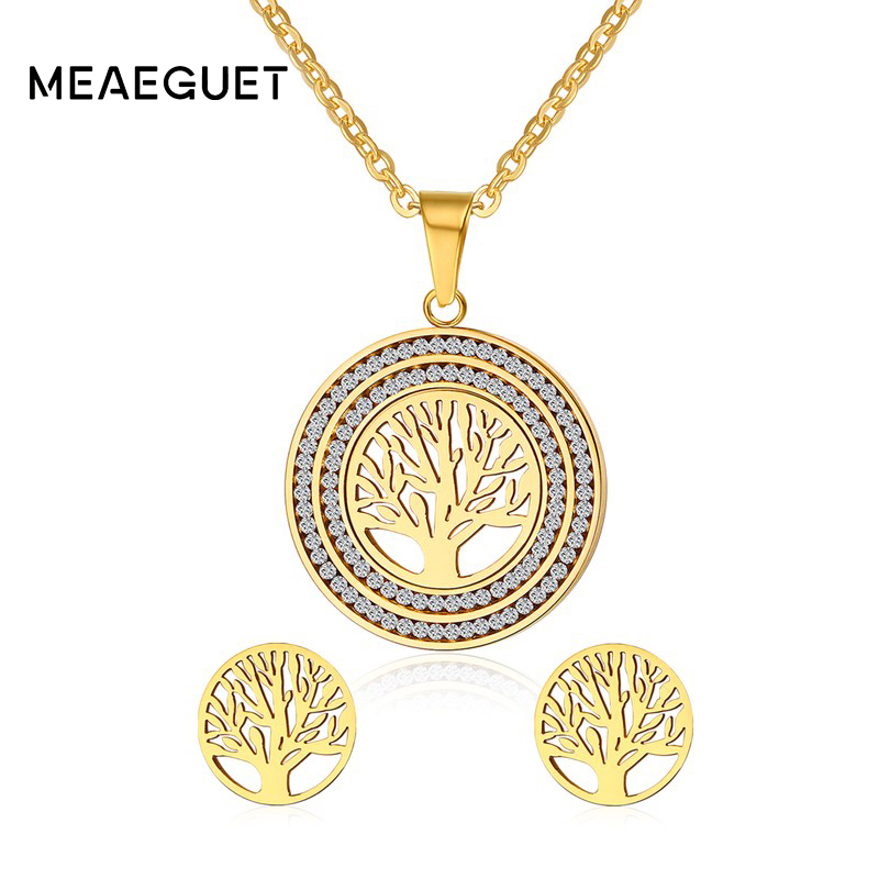 Meaeguet Women Tree of Life Jewelry Sets Stainless Steel Rhinestone Pendant Necklace and Earrings Chakra Jewellery Mothers Gift a suit of vintage rhinestone leaf necklace and earrings for women page 5