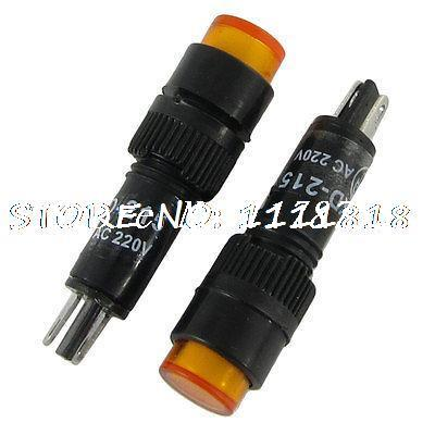 AC 220V 8mm Yellow Neon Pilot Light Indicator Lamp(Bag of 10)