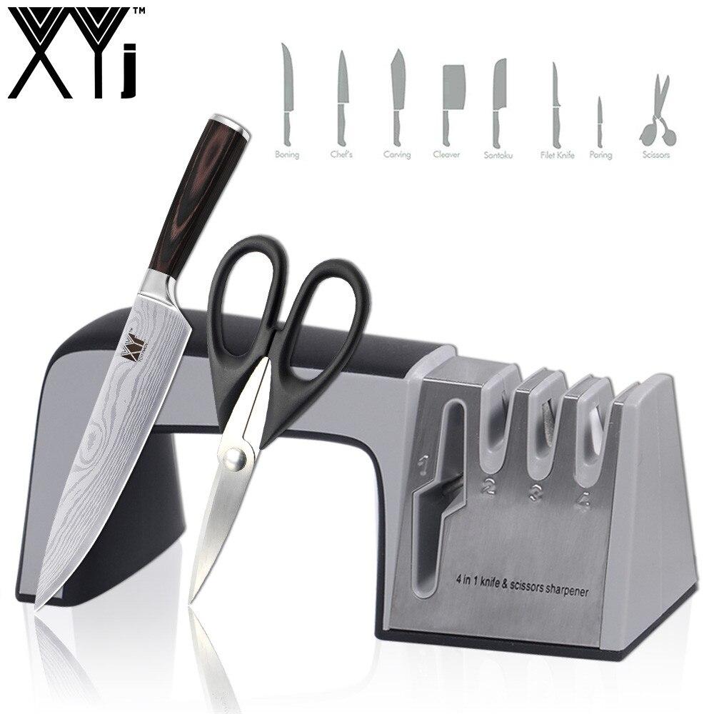 Нож xyj точилка 4 в 1 с алмазным покрытием и тонкий керамический стержень Ножи Ножницы заточка системы нержавеющая сталь лезвия