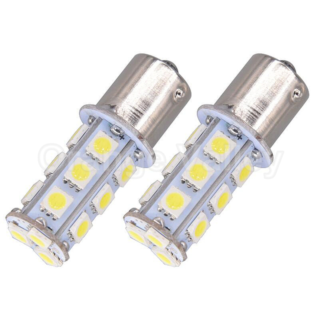 2Pcs Super Bright P21W 1156 BA15S 7506 5050 SMD 18 LED Car Auto Tail Brake Turn Signals Parking Lights Lamp Bulb DC12V