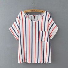 Nice Summer Striped T-Shirts Women Short Sleeve Tee Tops Casual Loose Lady Tee Shirts Style Women Clothing Tops Fashion AB5008