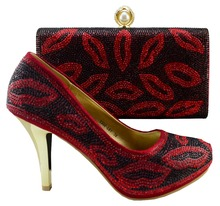 new style African woman matching italian shoe and bag set for wedding  HJZ1-86