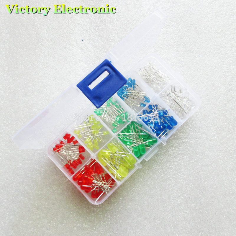 Diodes Generous 200pc/lot 3mm 5mm Led Kit With Box Mixed Color Red Green Yellow Blue White Light Emitting Diode Assortment 20pcs Each New Complete Range Of Articles