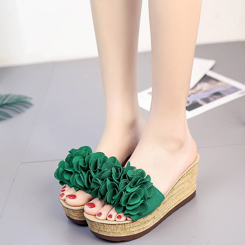 Hung Yau Flowers Wedges Sandals 2018 Summer Style Platform Flip Flops Slip On Creepers Casual Shoes Woman 3 Colors Plus Size 40