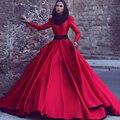 Elegante de Manga Larga Musulmán Del Vestido de Noche 2017 Una Línea Roja Vestido de Fiesta Cuello Alto Tren Largo de Satén Vestidos de Fiesta
