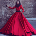 Stylish Long Sleeve Muslim Evening Dress 2017 A-line Red Prom Dress High Collar Long Train Satin Vestidos de Festa