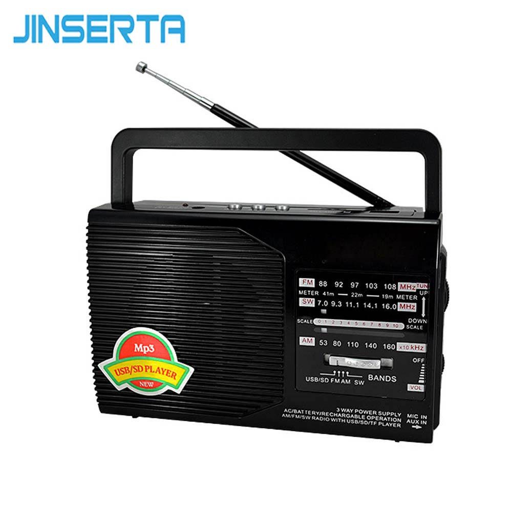 JINSERTA FM/AM/SW Radio Portable Receiver Music Player USB Interface Charge with Stretch Antenna Support SD/TF Card Play