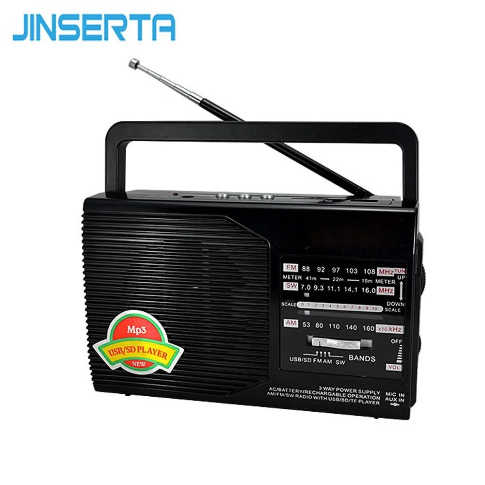 Jinserta Fm/am/sw Radio Tragbare Empfänger Musik Player Usb-schnittstelle Ladung Mit Stretch Antenne Unterstützung Sd/ Tf Karte Spielen Radio