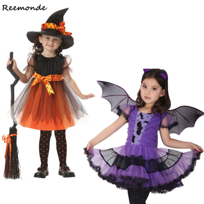 Children Girls Vampire Cosplay Costumes Princess Dresses Hats Wings Witch Role Playing For Kids Halloween Party Carnival Clothes