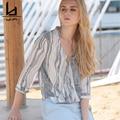 Hui Lin Striped Chiffon Women Summer Blouse V Neck Fashion Casual Women Top Fashion Sweet New Design
