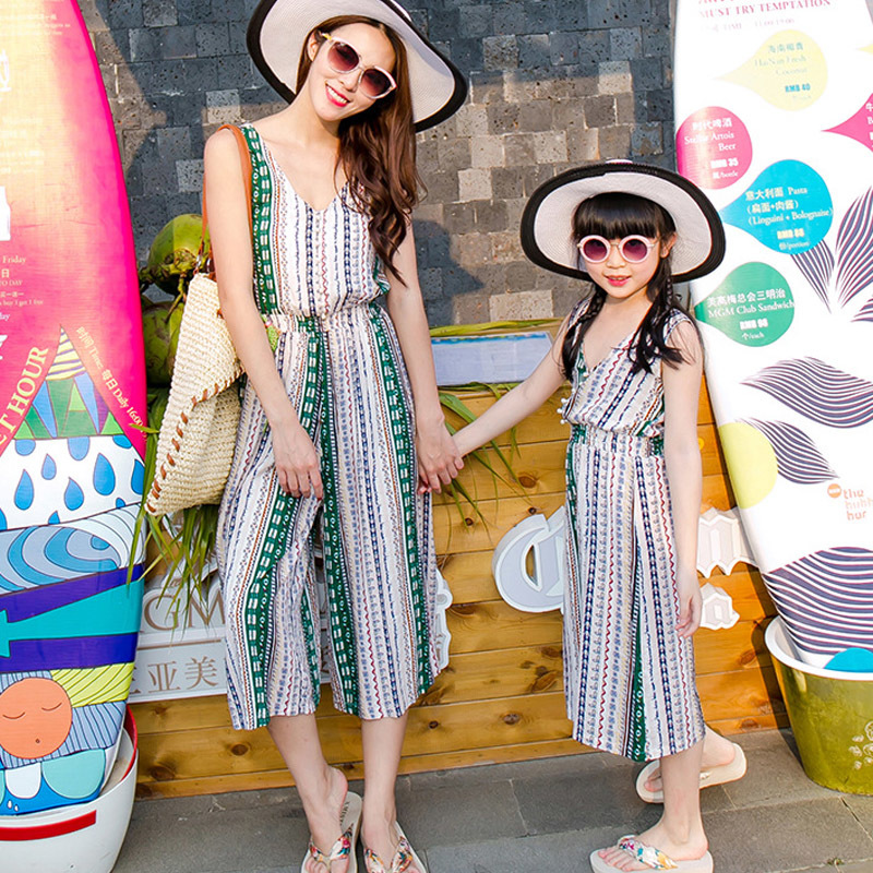 8c2d5e34cc241 chifuna Mother Daughter Bohemian Maxi Dress Family Matching Outfits 2018  Fashion Mommy and Me Striped Long Dress Family Fitted-in Matching Family ...