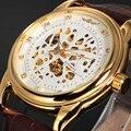 ПОБЕДИТЕЛЬ Luxury Brand Скелет Часы Relogio Кожаный Ремешок Мужчины Военный Бизнес Часы Автоматические Самостоятельно Ветер Механические Наручные Часы
