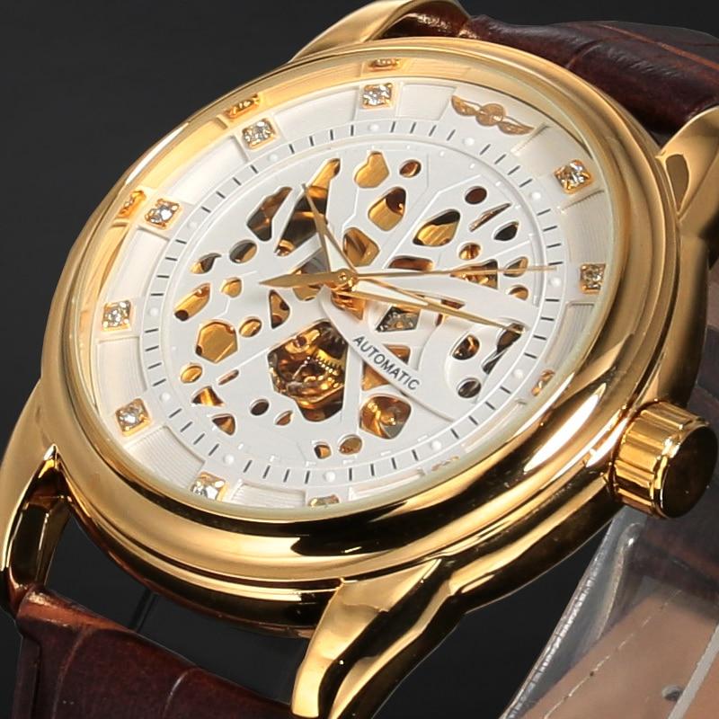 d0fa61bd78a9e GAGNANT De Luxe Marque Squelette Montre Relogio Bracelet En Cuir Hommes D' affaires Militaire Horloge Automatique Auto Vent Montre-Bracelet Mécanique