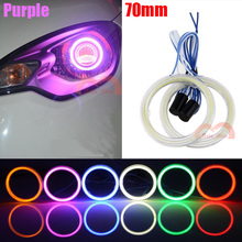 все цены на 2pcs 70mm Purple Car Motorcycle Universal Retrofit Headlight Fog Angel Eyes Halo Rings Cob LED Lights онлайн