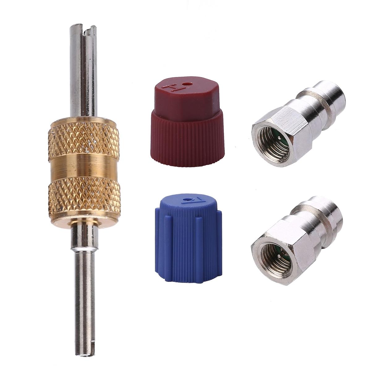 1 conjunto ac adaptador de porta montagem retrofit r12 para aceitar r134 alta baixa dupla-cabeça válvula núcleo lado a/c retrofits acessórios ferramenta