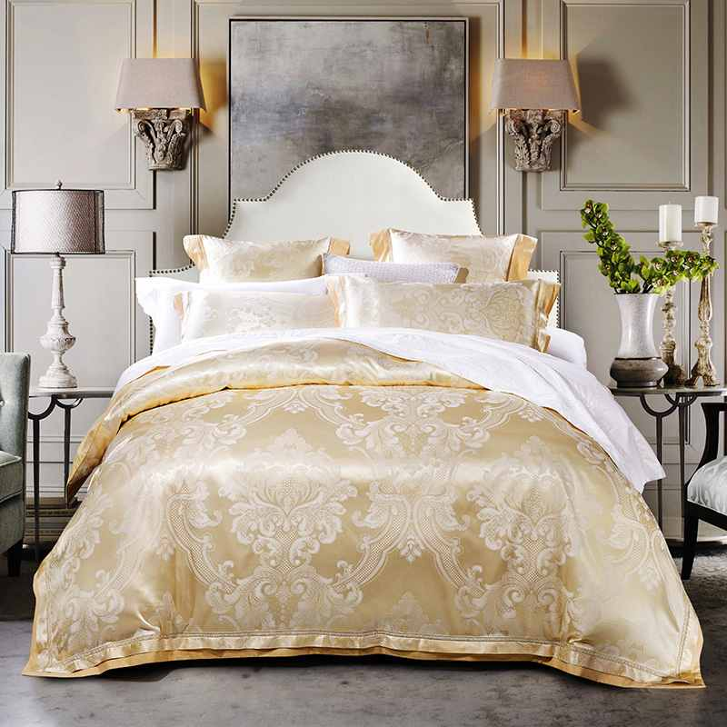 4 6pcs european style jacquard silk bedding set king queen size satin quilt duvet cover bed. Black Bedroom Furniture Sets. Home Design Ideas