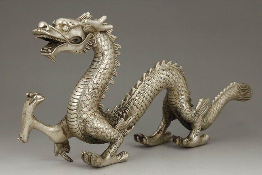 Chinois vieux gros travail manuel de cuivre blanc sculpture STATUE de DRAGON
