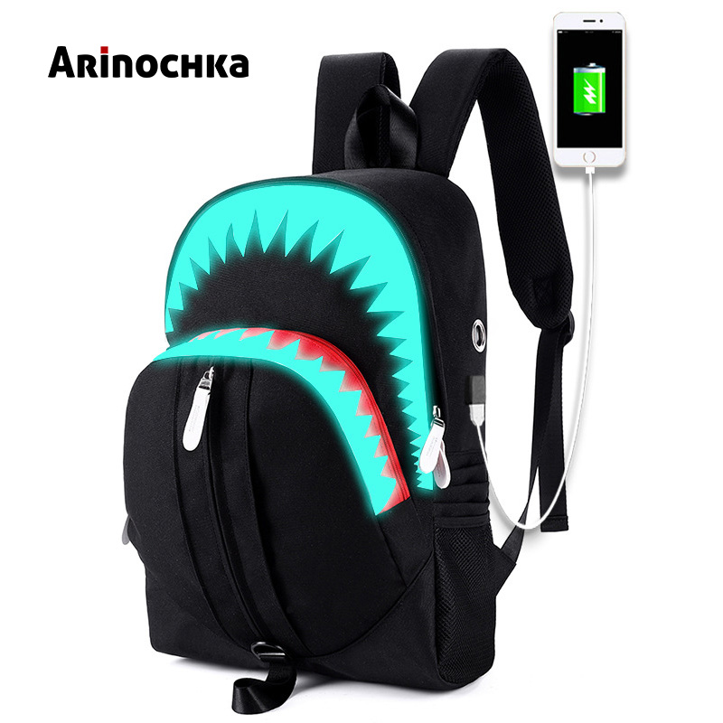 USB Charging Fashion Luminous 3D Shark Backpack Night Glows Lighting Junior High School Bag Laptop Teenagers Travel Bag Mochila