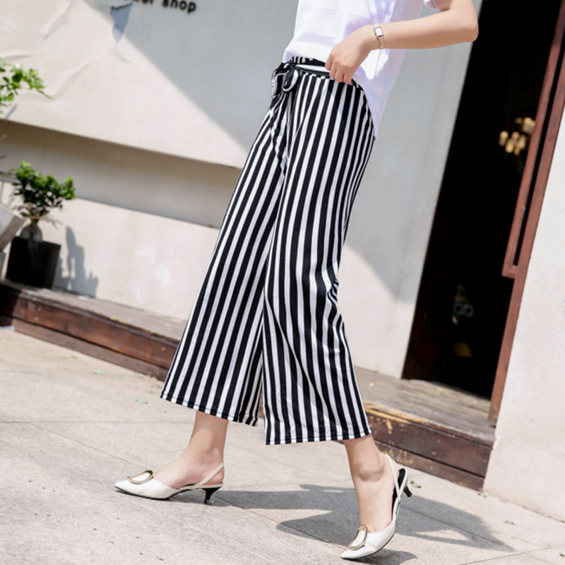 High Waist   Wide     Leg     Pants   Women Plaid Striped Loose   Pants   Stripe Bow Tie Bell Bottom   Pant   Women