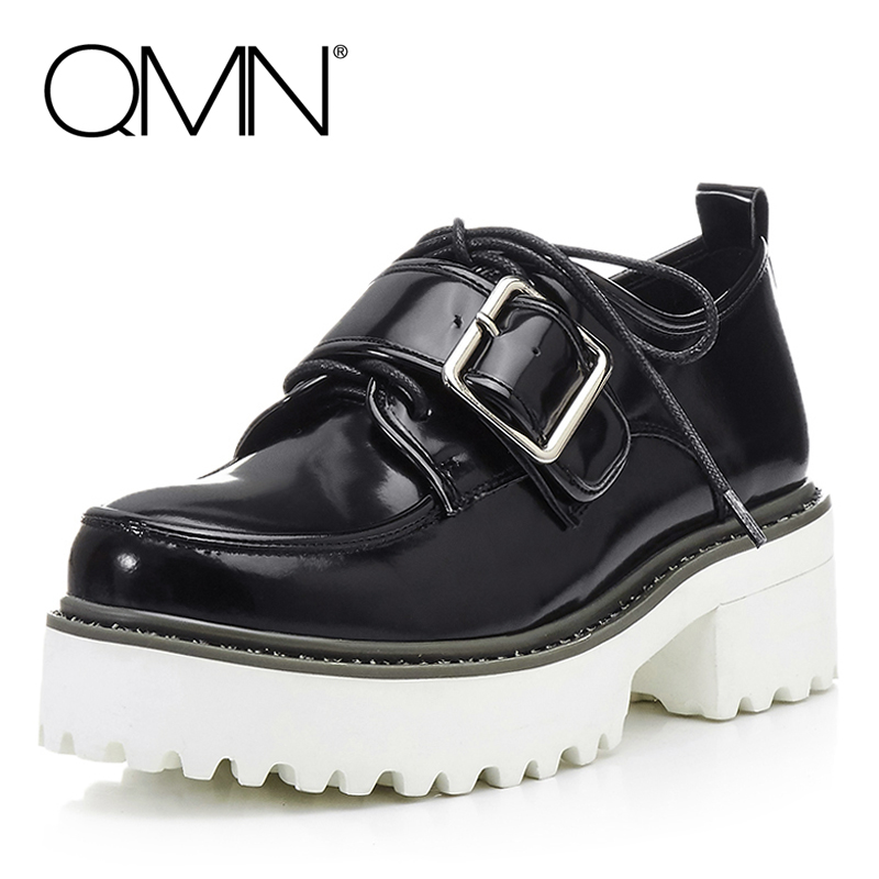 QMN women buckled glossed leather platform brogue shoes Woman Round Toe Platform Casual Shoes Woman Real Leather Flats qmn women genuine leather flats women square toe brogue shoes woman typical british style real leather oxfords 34 40