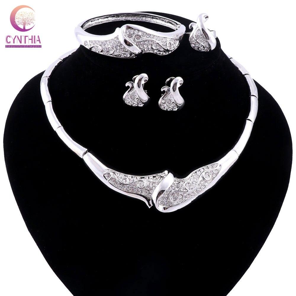 5d897feaae Color plata Juegos de joyería declaración collar pendiente anillo de  brazalete conjunto bijoux africano Cuentas joyería conjunto para las mujeres