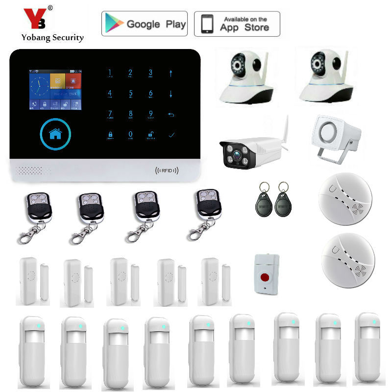 Yobang Security wireless wifi gsm alarm system TFT display door sensor home security alarm systems Wired Siren Kit yobang security gsm wifi auto dial home alarm system rfid tags intelligent alarma kits glass break sensor strobe siren sensor