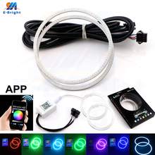 Hotslaes 10Pcs 12V Bluetooth APP Control RGB Color COB Led Halo Rings Angel Eye 60 70 80 90 95 100 110 120 mm DRL Auto Headlight