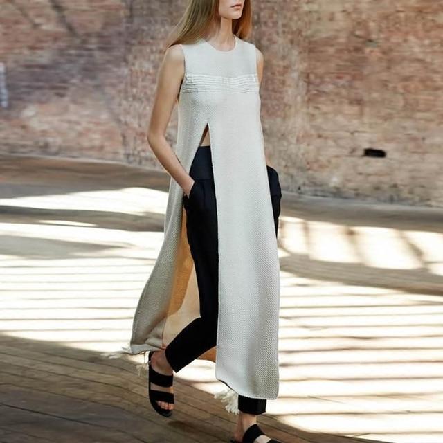 Women runway O neck split X-long tassel casual sleeveless shirt top+ black pencil pant suit slim elegant work office suit Fall