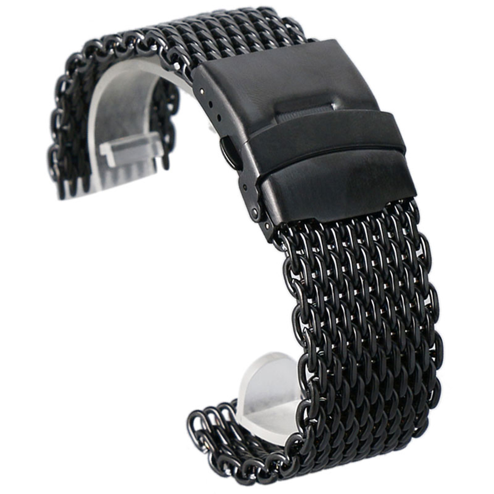Black Golden Silver Colors 18mm/20mm/22mm/24mm Casual Steel Mesh Watch Strap Fold Over Clasp Luxury Man Watchband Replacement Black Golden Silver Colors 18mm/20mm/22mm/24mm Casual Steel Mesh Watch Strap Fold Over Clasp Luxury Man Watchband Replacement