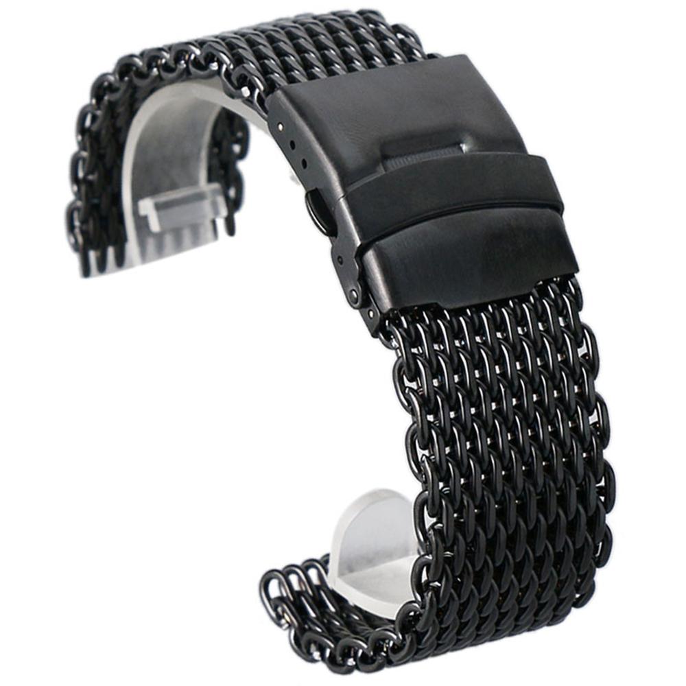 Prix pour Noir Or Argent Couleurs 18mm/20mm/22mm/24mm Casual Maille D'acier Montre Bracelet Boucle Déployante De Luxe Homme Bracelet de Rechange