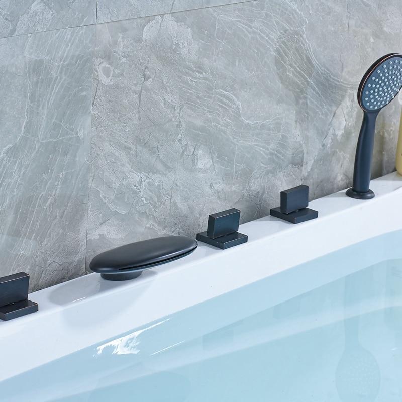 Deck Mounted Waterfall Spout Bathtub Faucet Shower Oil Rubbed Bronze Mixer Tap Set