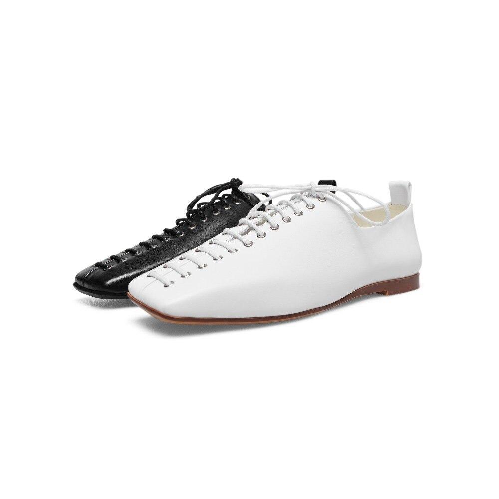 Automne Croix Bout Pour Arden En Femme attaché White Cuir black Nouveau Printemps 2018 White Carré Richelieu Furtado Appartements Filles Véritable Chaussures Occasionnels p6xvI6qCn