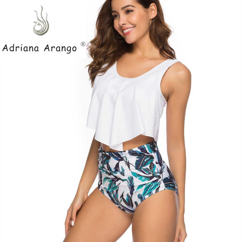 Adriana Arango R drenaje traje de baño colmena Bikini de cintura alta traje de baño Sexy mujeres Bikini Set 2019 nuevo Push Up Ruffle traje de baño