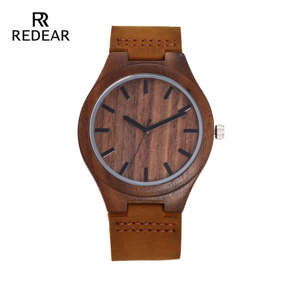 REDEAR Mens Design Brand Luxury Walnut Wooden Watches Real Leather - Damklockor - Foto 2