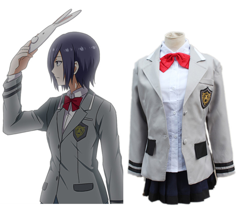 2017 New Arrive Anime Tokyo Ghoul Touka Kirishima Uniform Cosplay Costume ( Jacket + Skirt + Bow tie ) Size S-XL
