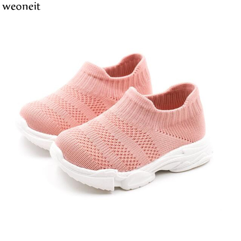 Fashion Breathable Boys And Girls Shoes Comfortable Flat Ankle Boots Stretch Fabric Sock Pattern Casual Shoes Black Red Children's Shoes