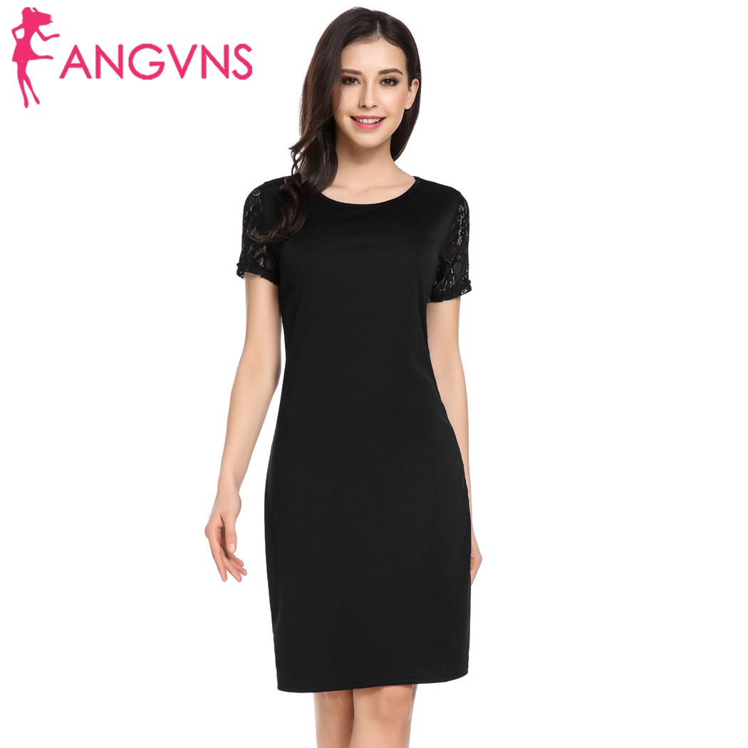 ANGVNS Women Dress 2018 Spring summer Short Sleeve Keyhole Lace Patchwork Party Sheath Dress Vestido de mujer Robe de femme