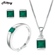 MoBuy Natural Gemstone Green Chalcedony 925 Sterling Silver 3PCS OL Style Jewelry Set Fine Jewelry For Women Wedding V008-ENR