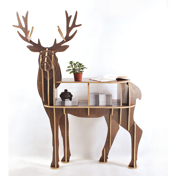 Free shipping christmas deer table european diy arts for Table bois nordique